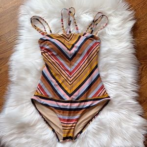 Anthropologie Mermaid Stripe One-Piece Swimsuit